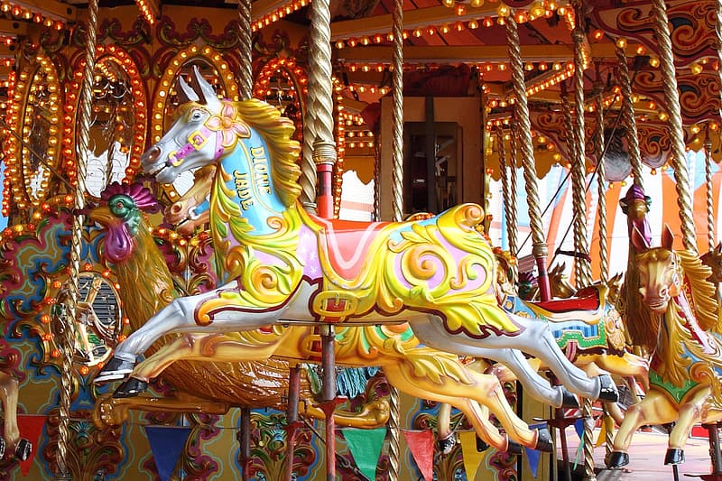 Photo of white horse in carousel during day time