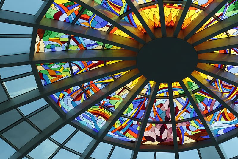 Assorted-color stained glass dome