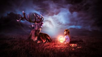Girl with deer painting