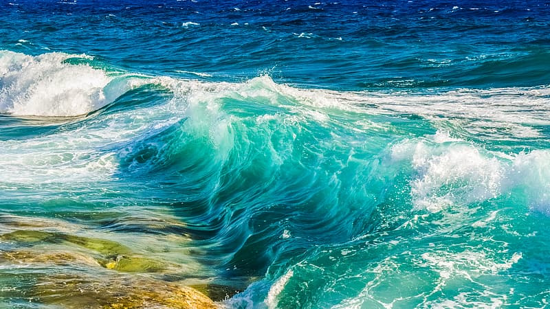 Waves rush to shore during daytime