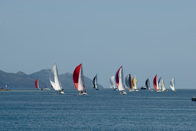 Sailboats on the ocean waters