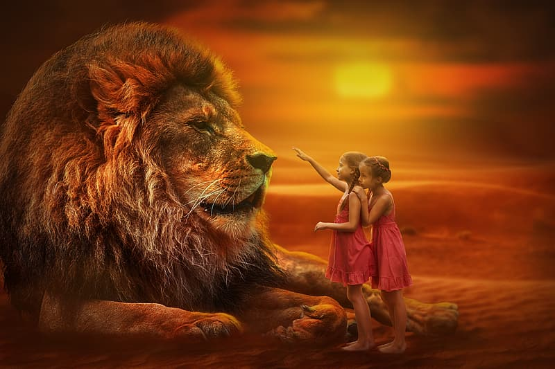 Two girls in front of lion during golden hour time