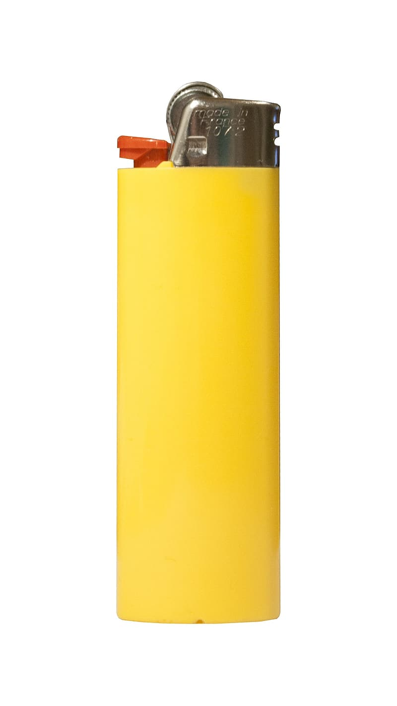 Yellow and silver disposable lighter