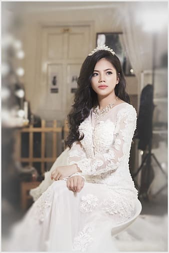 Woman in white bridal gown