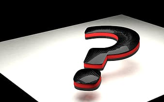 Black and red question mark 3D illustration