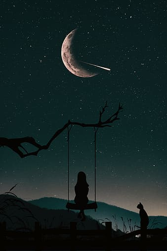 Silhouette of girl sitting on swing fixed to a tree branch under bright starry night sky with crescent moon illustration