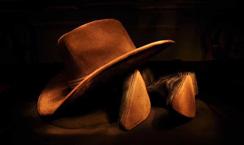 Brown cowboy hat and boots
