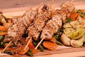 Grilled meat with vegetable and sliced carrots