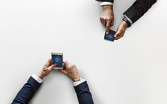 Person holding blue and black smartphone