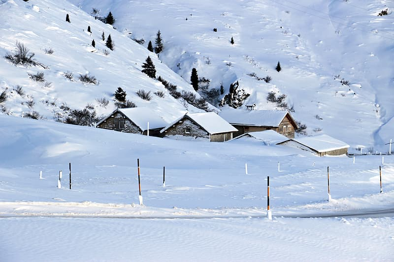 Photograph of small town coated by snow ice