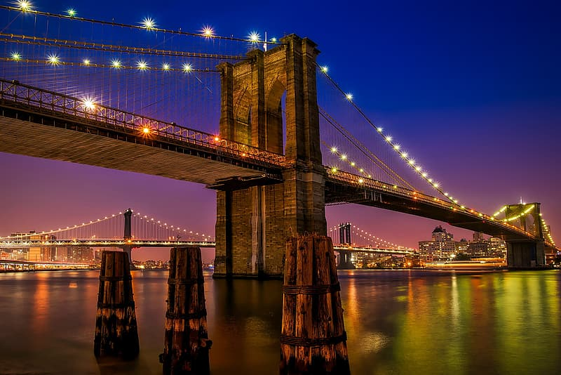 Brooklyn Bridge, New York during nighttime