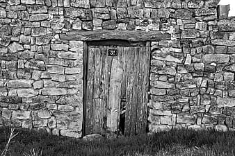 Grayscale photo of closed wooden door