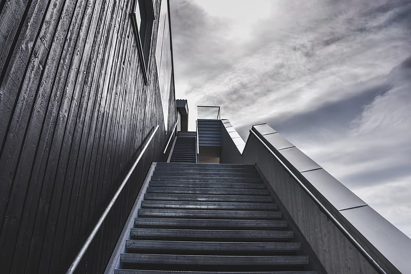 Low angle photo of empty stairway