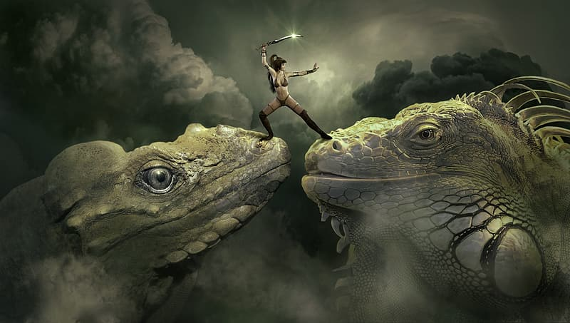 Woman holding sword standing on two reptiles