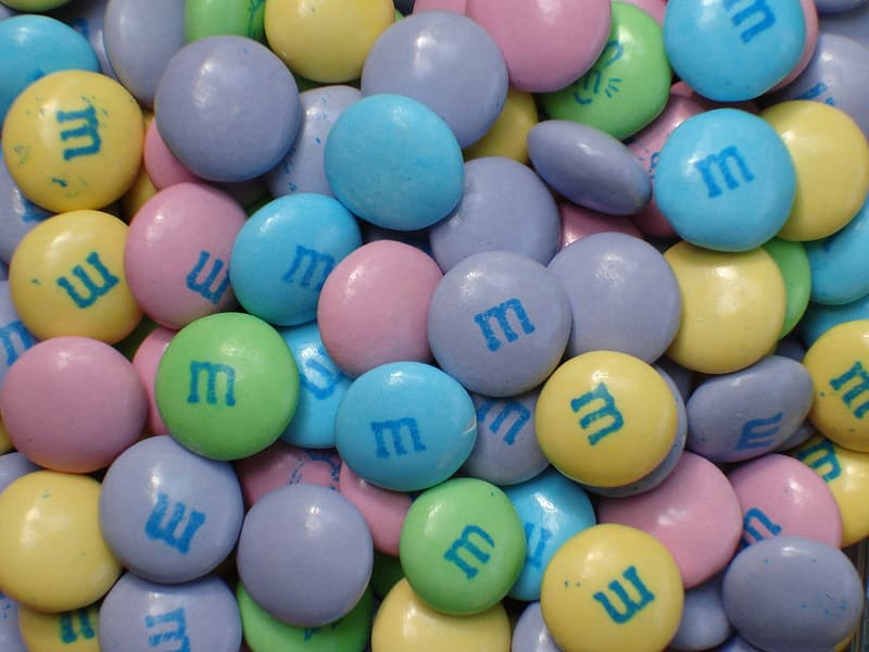 Assorted-color M&M candies