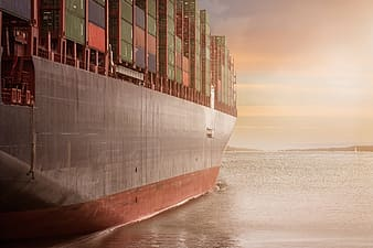 Cargo ship on water
