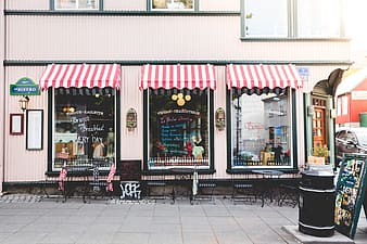 Stores with red and white awning