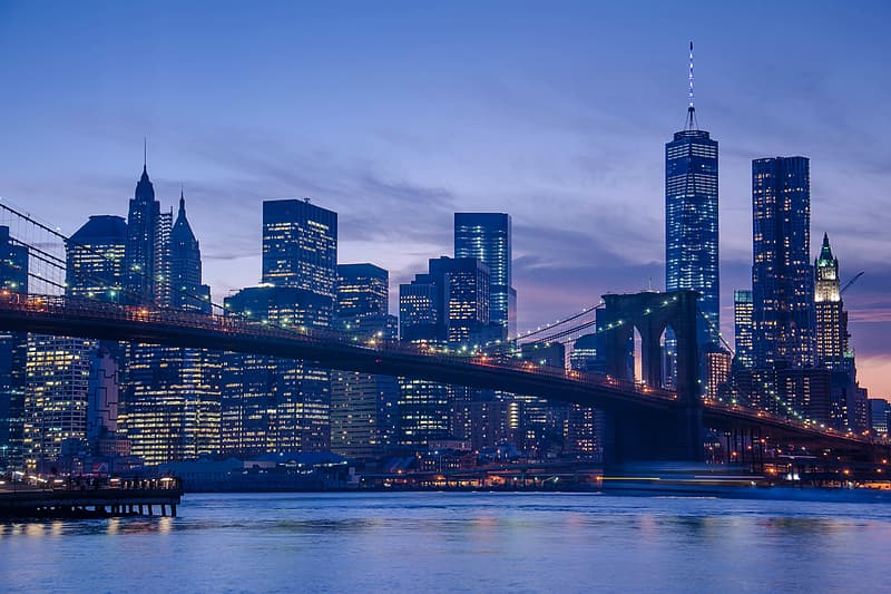 The famous manhattan skyline captured at sunset in New York City
