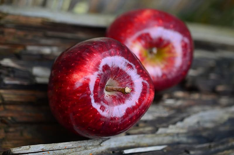 Closeup photo of two red apples