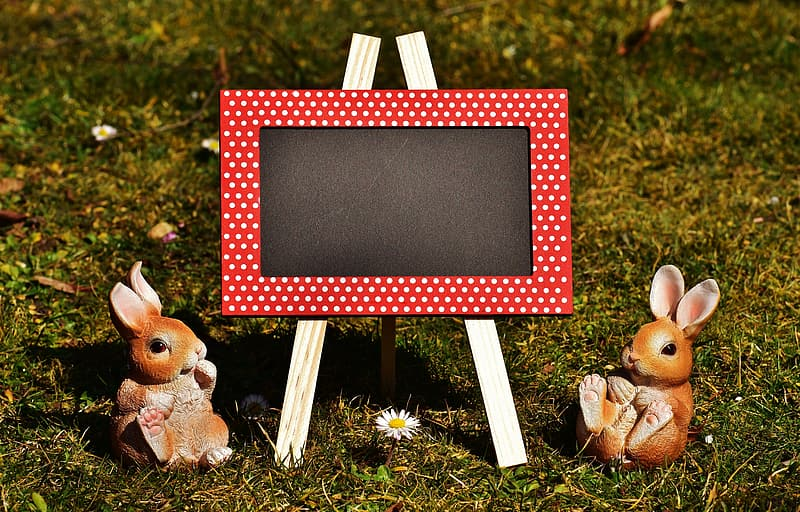 Chalkboard and two rabbit figurines