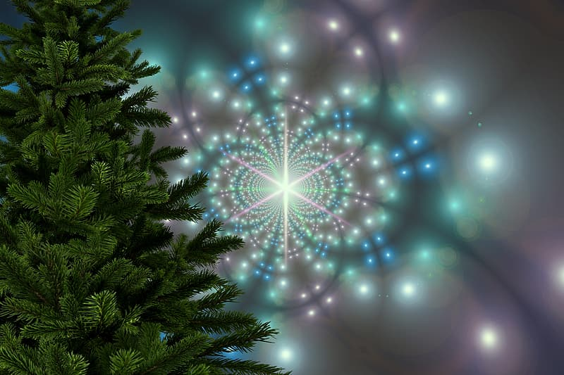 Green pine tree with blue and white light