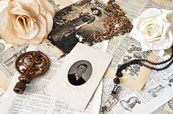 Assorted accessories and papers on table