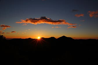 Silhouette of mountain in golden hour photography
