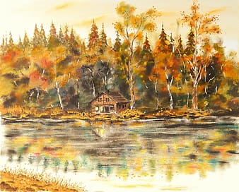 Brown wooden house near body of water surrounded by brown leaf trees painting