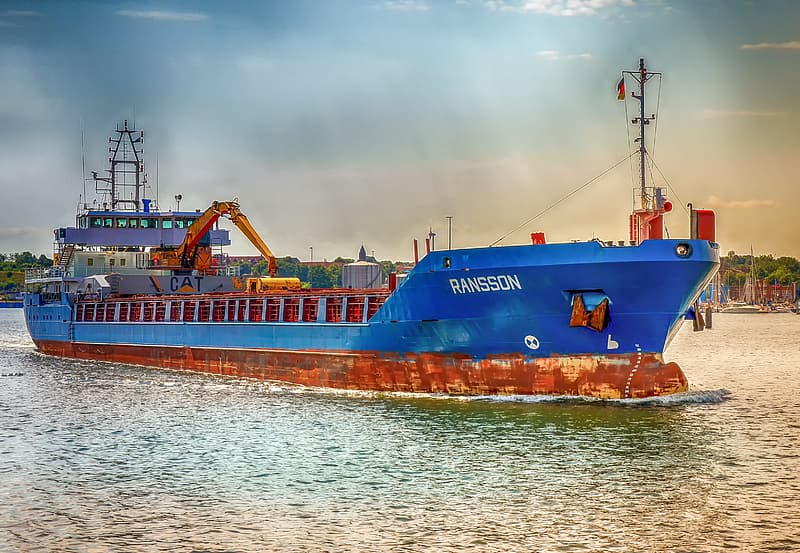 Blue and brown cargo vessel on body of water