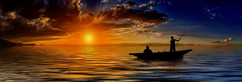 Silhouette on two person riding boat during golden hour