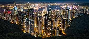 Panoramic photography of lighted city