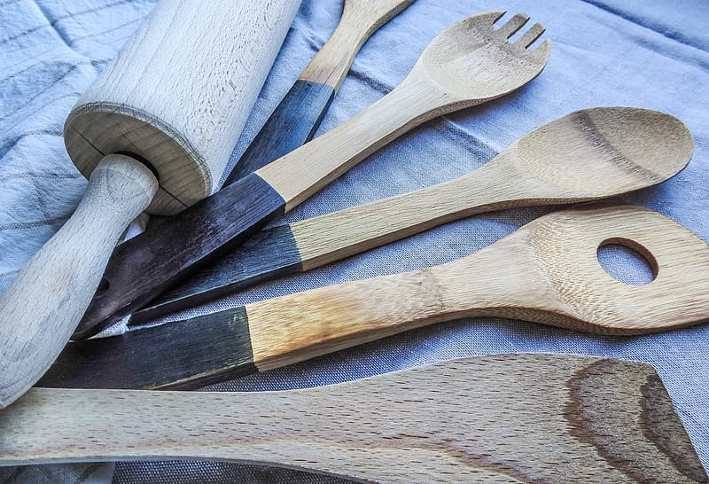 Brown wooden handled gray stainless steel fork lot