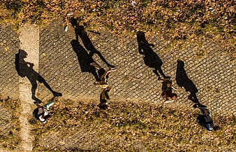 Four shadow of people