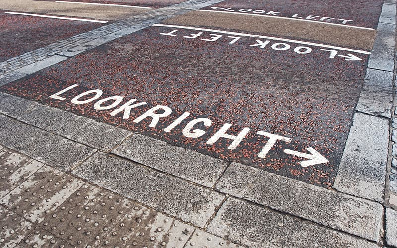 Look Right sign on the pavement