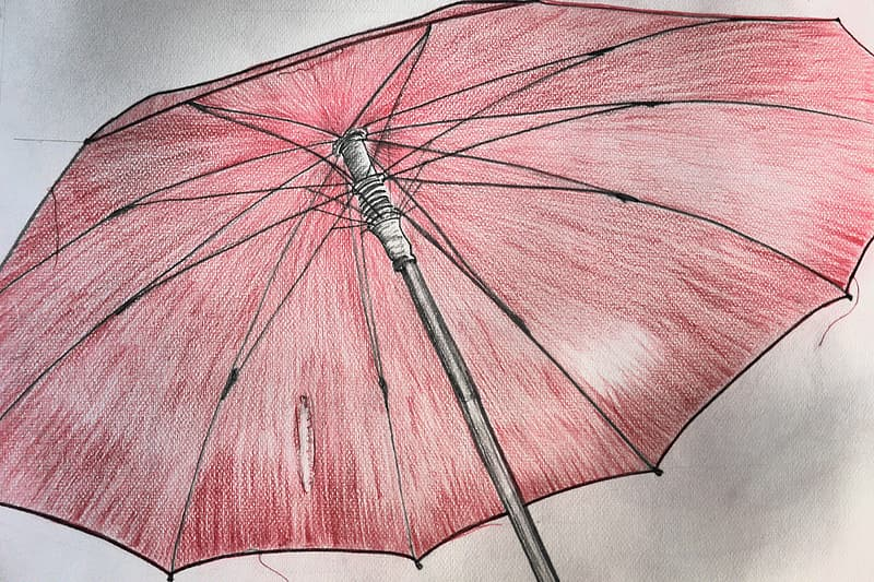 Red and black umbrella drawing