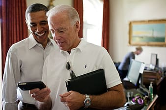 Barack Obama with male person