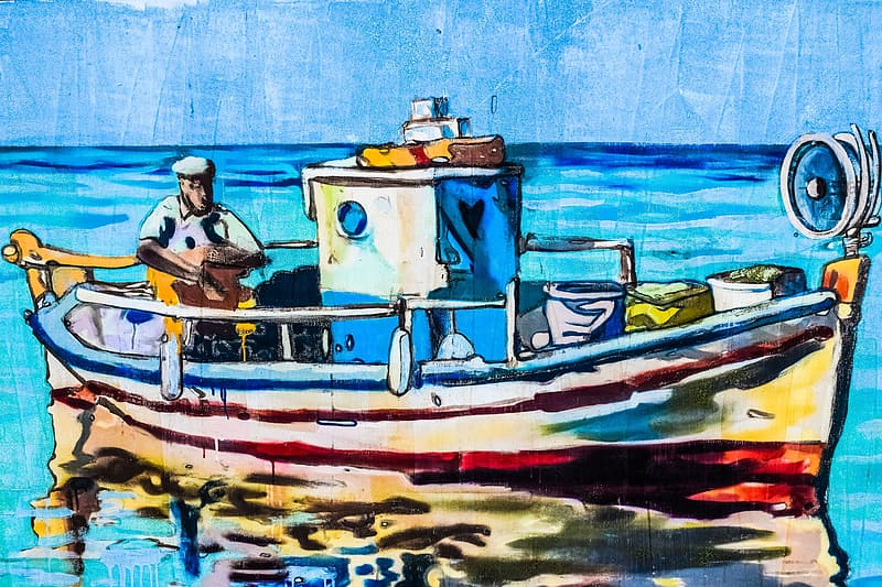Sailor on boat painting