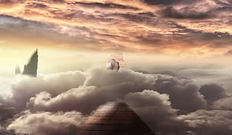 Sea of clouds and pyramid