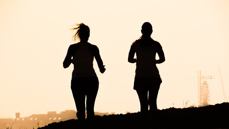 Silhouette of two women