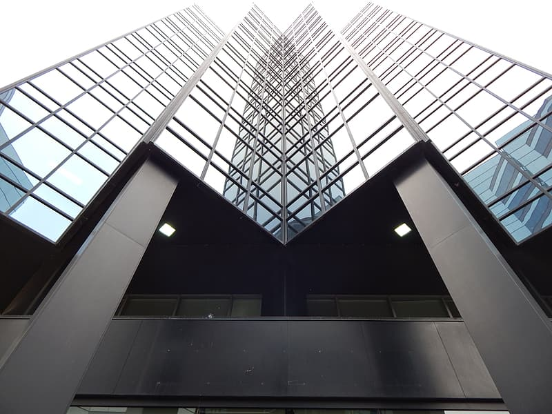 Wormseye view of building