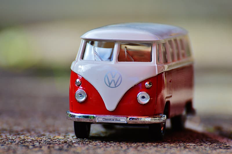 Red and white Volkswagen Kombi toy