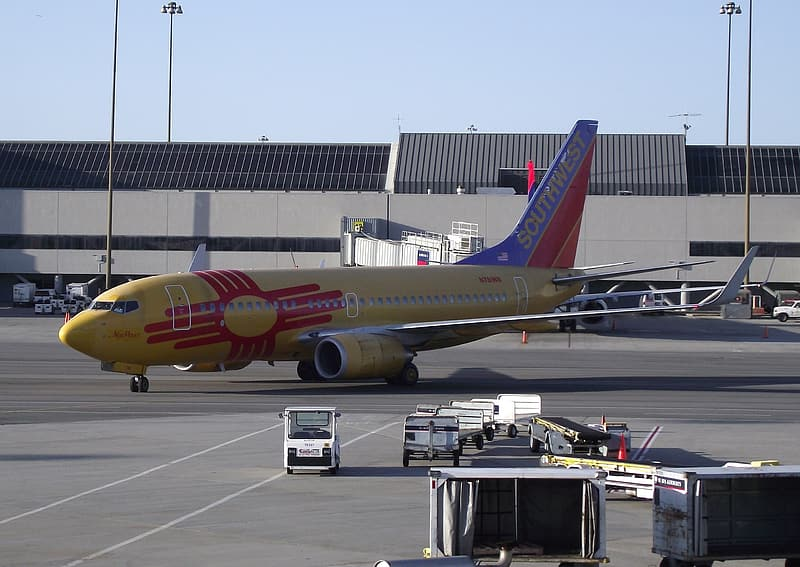 Red and yellow airliner