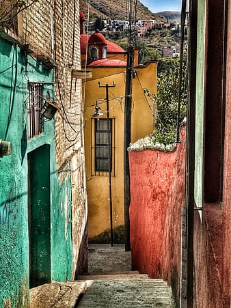 Yellow and green paint houses at daytime