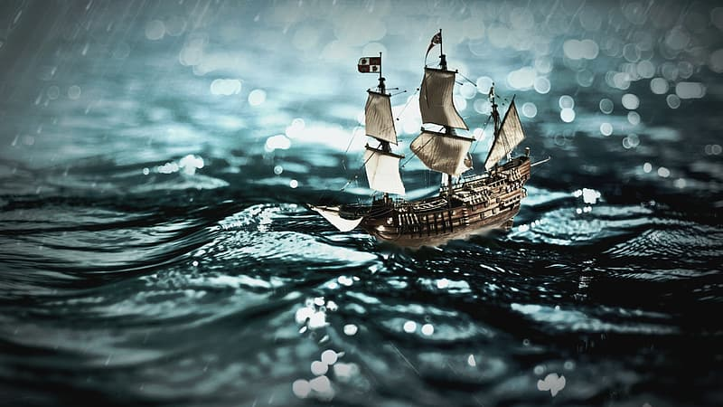 Brown galleon ship on body of water during heavy rain