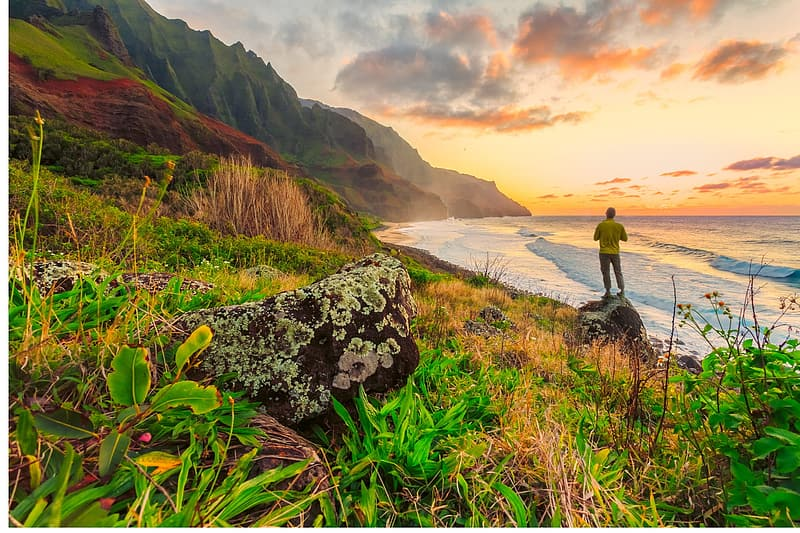 Man standing atop of a rock looking at the sea