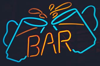 Turned-on blue and orange bar cheers neon light signage