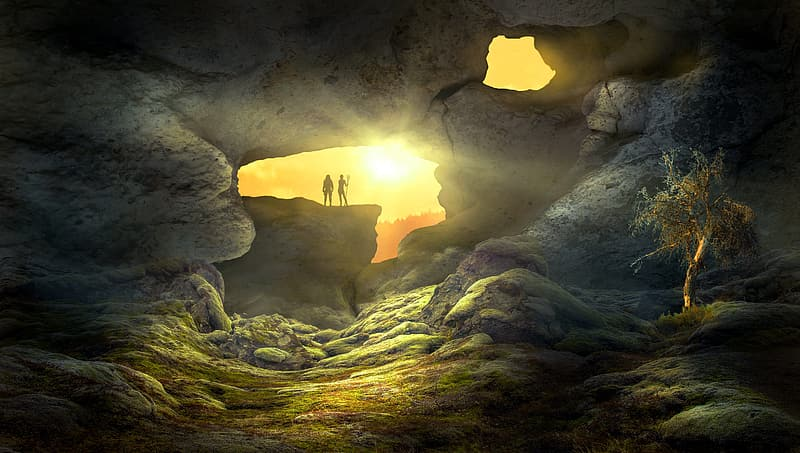 Silhouette of two men on rock during golden hour digital illustration