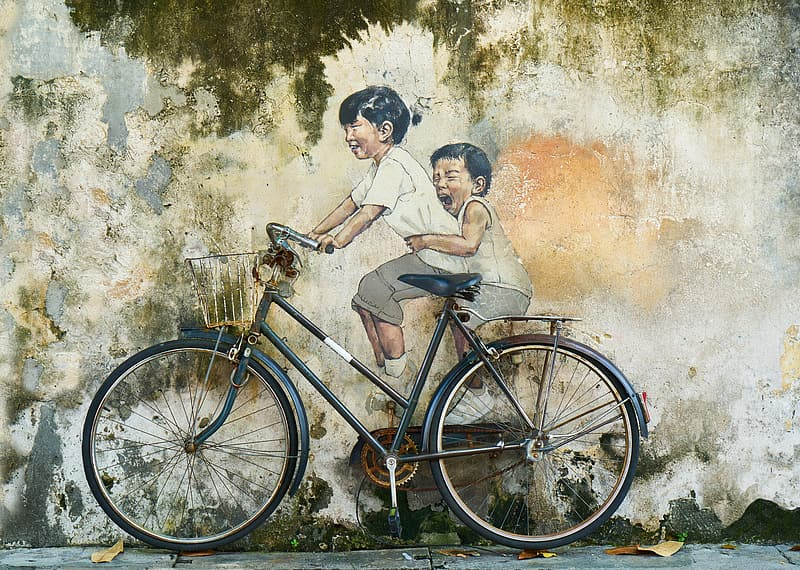 Children riding bicycle painting