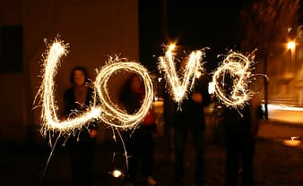 Fireworks forming the word love