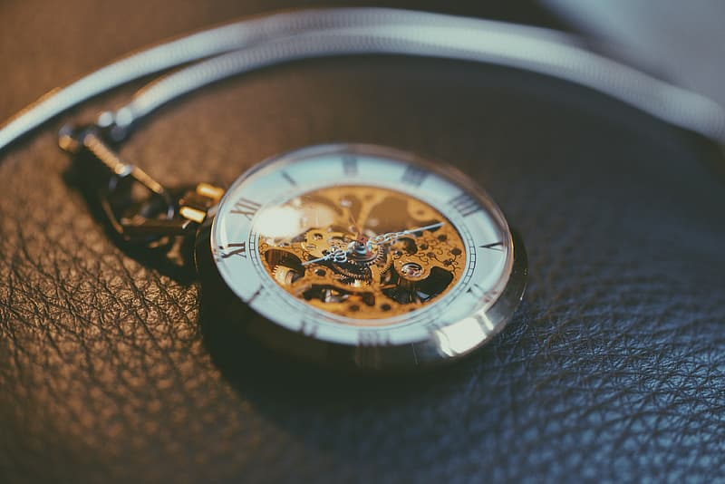Round silver-colored skeleton watch on cushion